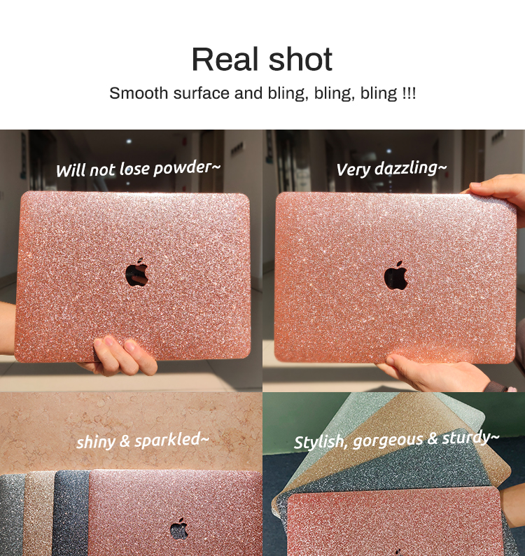 Voor macbook Pro 13 glitter laptop case hard cover