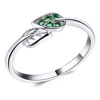 925 Sterling Silver Branches Green Leaves Crystal Charm Band Ring