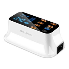 US EU AU UK Plug LED Display Ponsel Portabel Perjalanan Cepat QC 3.0 8 <span class=keywords><strong>Port</strong></span> 5 V 3A Adaptor tipe C <span class=keywords><strong>Multi</strong></span> <span class=keywords><strong>USB</strong></span> <span class=keywords><strong>Charger</strong></span>
