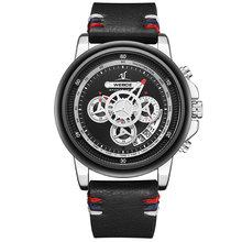 Новые Креативные мужские часы Топ бренд класса люкс Хронограф Кварцевые часы мужские кожаные спортивные военные наручные часы Relogio Masculino(Китай)