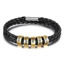 Индивидуальный Плетеный веревочный браслет для мужчин и женщин, на заказ, семейное имя, бусины, очаровательные ID браслеты и браслеты, ювелир...(Китай)