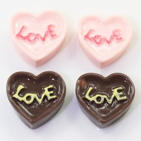 Sweet Pink Chocolate Love Heart Cake 100PCS Resin Flatback Cabochon Miniature Food Art Supply Decoration Charm Craft