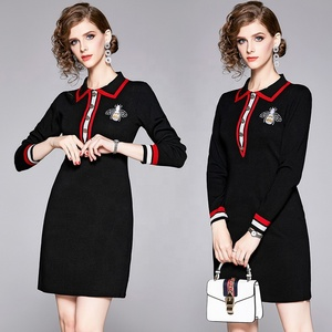 2019 Casual Bodycon Dresses Turn Down Collar Color Block Patchwork Long Sleeve Embroidery A Line Mini Dress