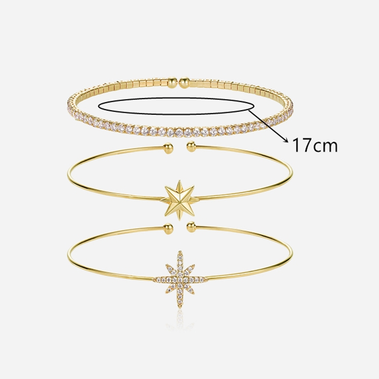 Custom Copper Jewellery Fashion Wholesale Modern Style 18K Yellow Gold Plated Jewelry minimal Bangle with Cubic Zircon for Girls