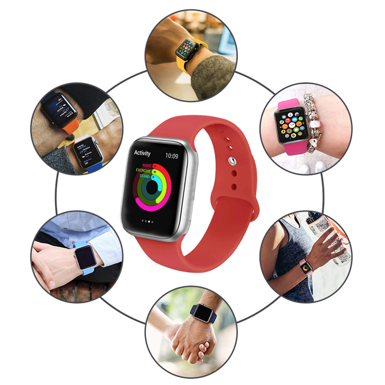 For i watch Series 6/5/4/3/2/1 Wristband, 38mm 42mm Rubber Silicone Bracelet Sport Watch Band For Apple Watch Strap