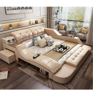 Modern leather fabric bed with storage box multimedia function bedroom furniture set