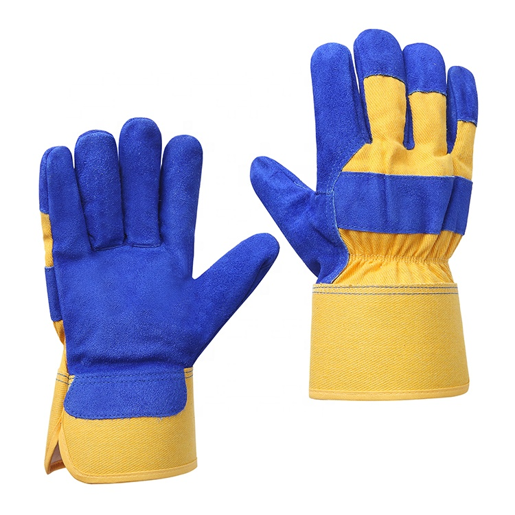 Custom china construction working safety cut resistant cow split leather gloves