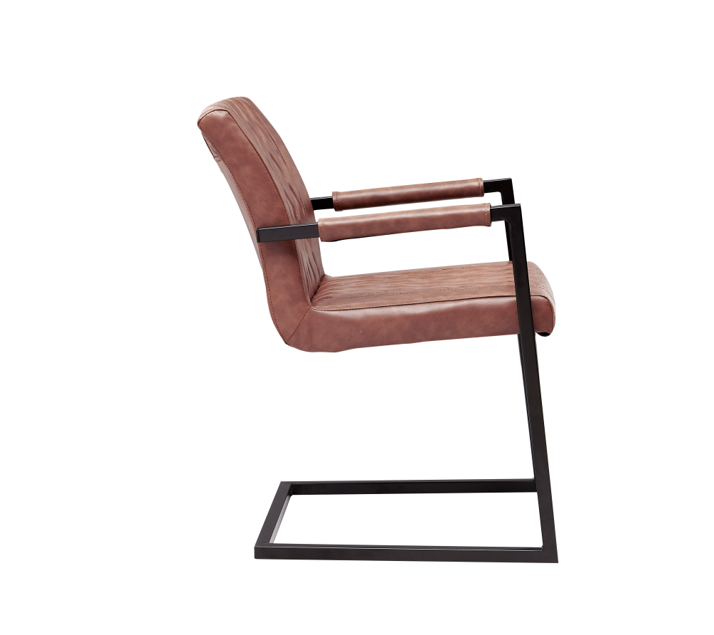 High Quality Leather Seat  Dining Chair Black Painting Metal Leg Office chair