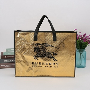 Fashion Gold laser coating large non woven clothing packaging tote bag with logo