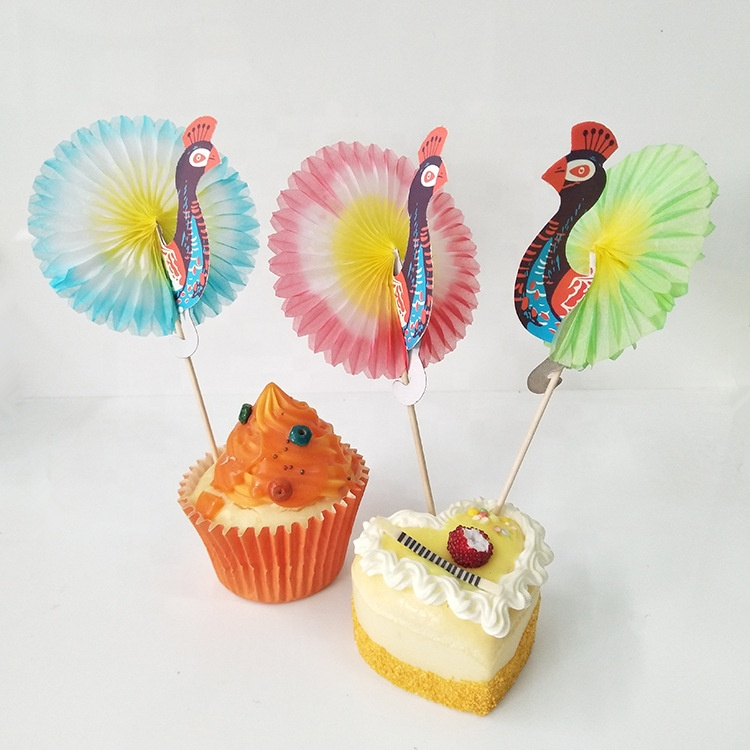 Disposable degradable Eco cocktail fruit cake decorate bamboo toothpick peacock