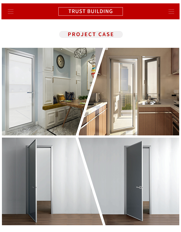 Aluminium Metal Standard s Durable, Modern House Aluminum Frame Frosted Tempered Glass Hinge Casement Swing Door