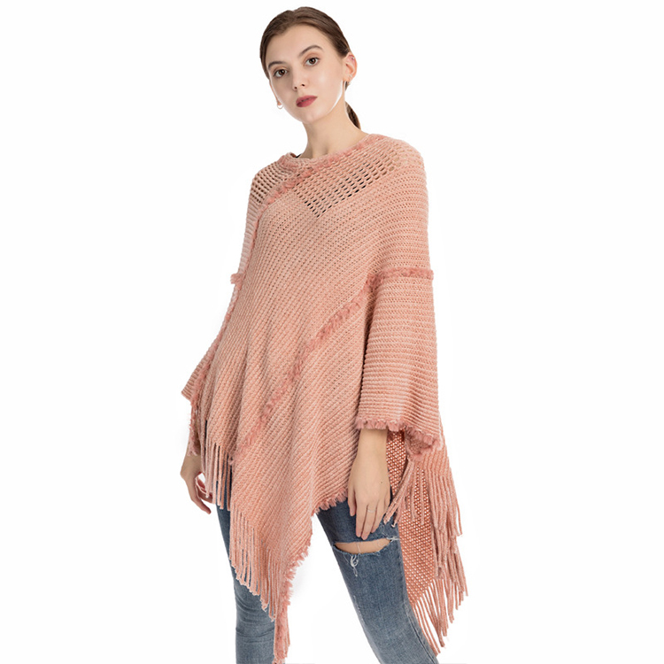 New design hot sell charm elegant cold weather poncho 100% polyester women soft oversize winter poncho