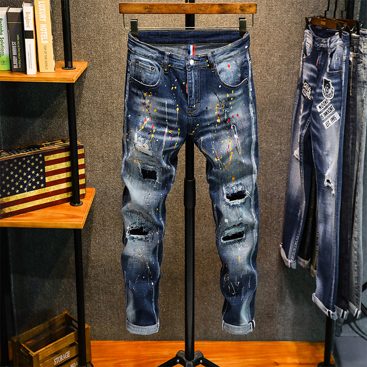 Hot sale New Men Leisure Biker jeans Wild embroidery printing badge trousers Spray paint Hole Slim fit pants