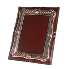 Four sides inlay electroplate frame wood grain wood plaque, the back with hanging hole wood plaque apply to souvenir