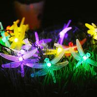 Bolylight 30 LED Christmas Lights Outdoor Solar Dragonfly String Lights Decorate for Tree /Garden With Color Changing