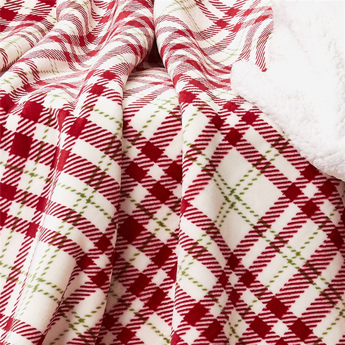 New best W5743 Super Soft Warm Plaid Patterned Polar Cabin Plaid Red Throw  Cozy Lightweight Blanket
