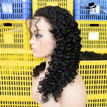 Wholesale cheap curly hd full lace human hair wig vendor,short deep wave brazilian human hair full lace wig for black women
