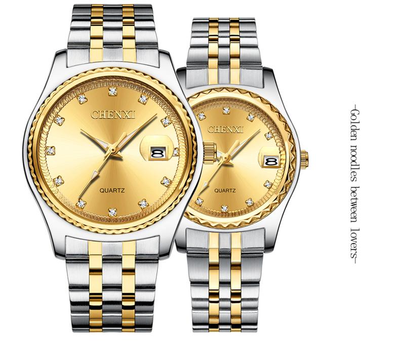 CHENXI 8204 Brand Lover's Wrist Watch Luxury Stainless Steel Belt Waterproof Date Clock Crystal Women Men Couple Quartz Watches