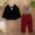 Engeland fashion design baby boy pak set gentleman strikje shirt en bib kleding set