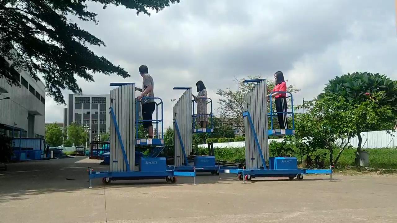 Electric Hydraulic Single Mast Aluminium Man Lift Aerial Work Platform