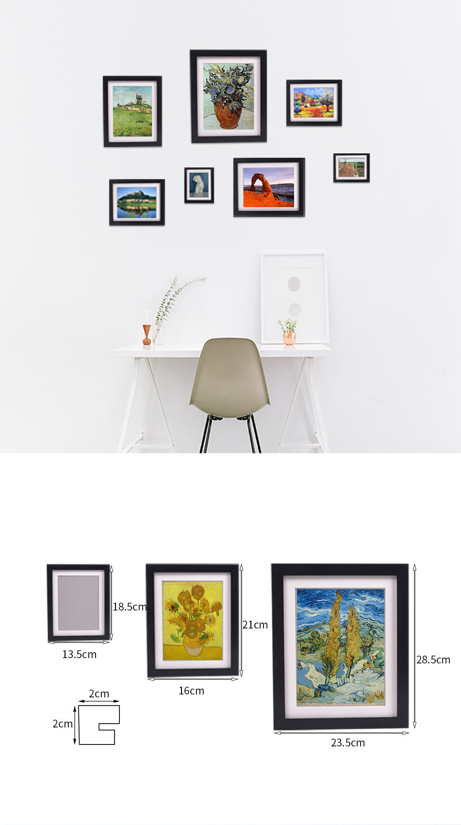 Wholesale modern wall decoration wooden custom cheap set black photo frame