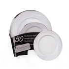 "Factory direct hot sale plastic disposable party plates 50 10.25"" plates and 50 7.5"" plates"