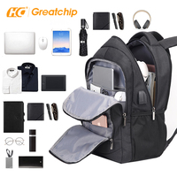 2019 Men Travel Outdoor Sports Black Grey USB Charging Bags Laptop Smart Backpack with USB charger, Earphone Outlet