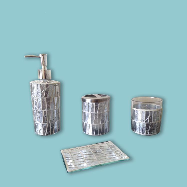 Ensemble d'accessoires de salle de bains, 4 pièces de haute qualité, couleur argent scintillante, vente en gros