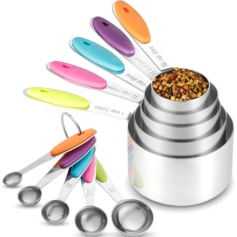 10 Piece <strong>Measuring</strong> Cups <strong>Measuring</strong> <strong>Spoons</strong> Set Stainless Steel <strong>Measuring</strong> Cup <strong>Spoon</strong> for Baking Tea Coffee Kitchen <strong>Measuring</strong> Tools