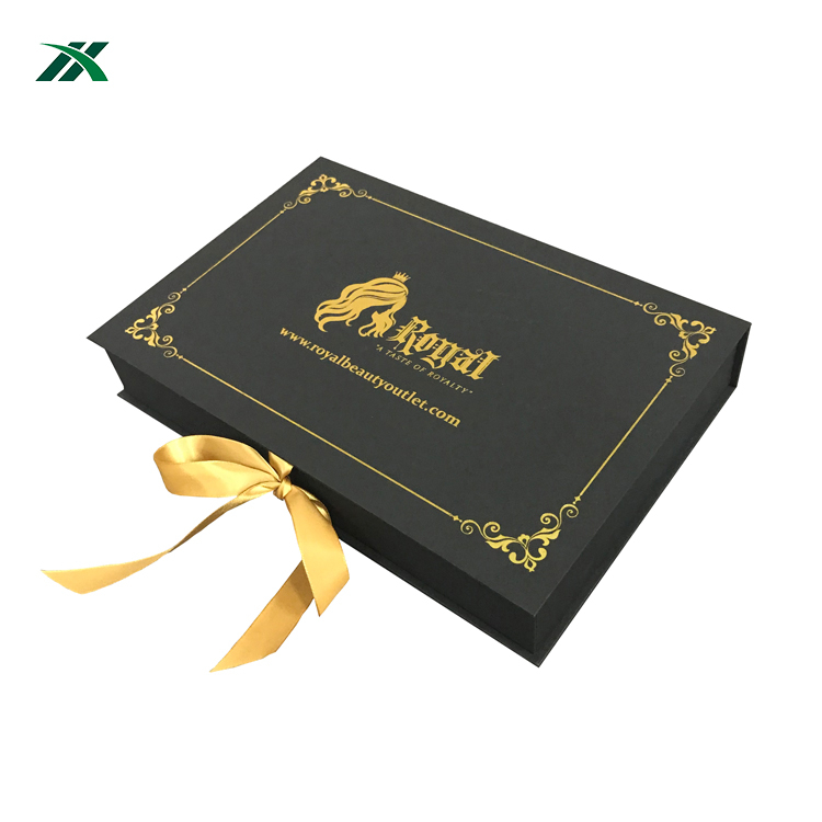 Custom gift decorative paper wig packaging box with satin
