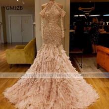 Блестящее вечернее платье русалки с блестками 2020, Холтер с длинным рукавом, вечернее платье из перьев, женское вечернее платье(China)