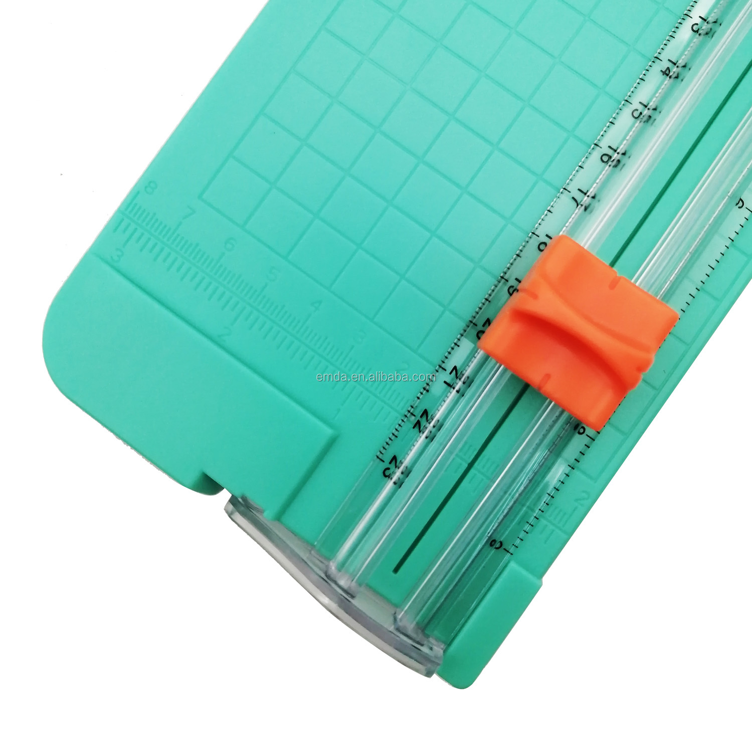 Office custom logo 10 sheets A5 office manual mini rotary paper cutter trimmer with pull out ruler for paper cut