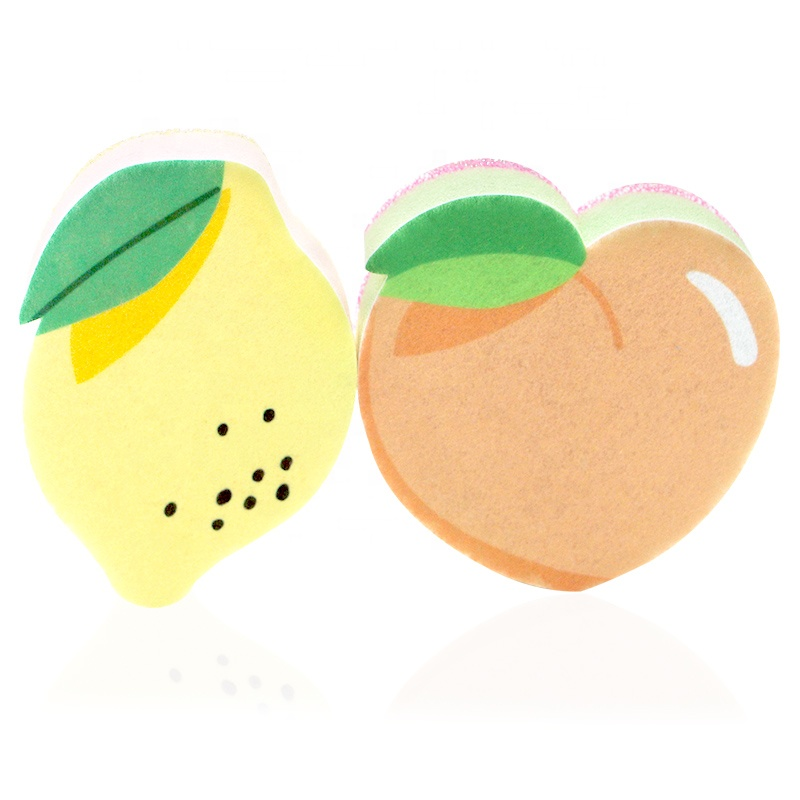 Newest! Fruit shape fresh style three layers sponge scourer pad kitchen clean sponge for dishes washing