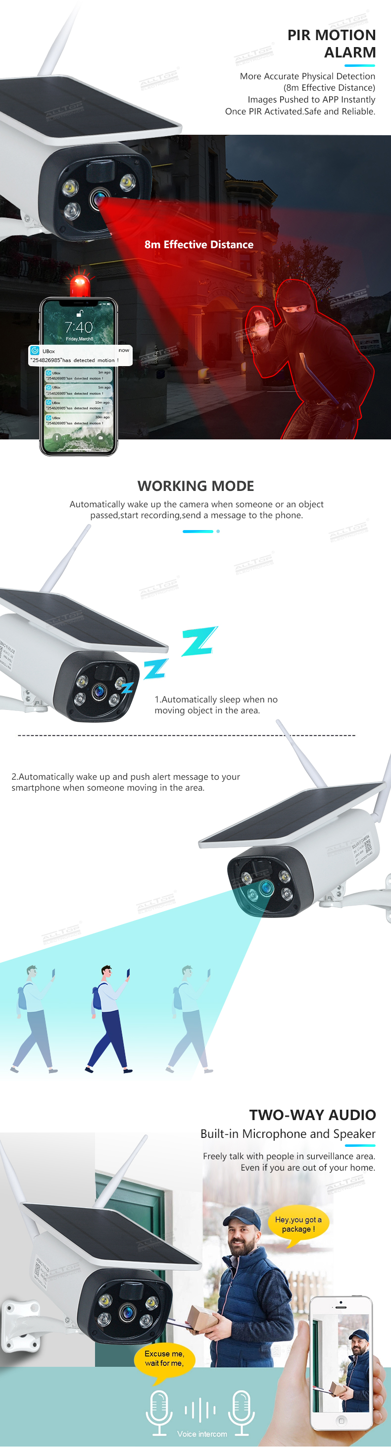 ALLTOP Hot Sale 1080P Motion Detection 355 PTZ Color Night Vision 4G Wifi Solar IP Camera
