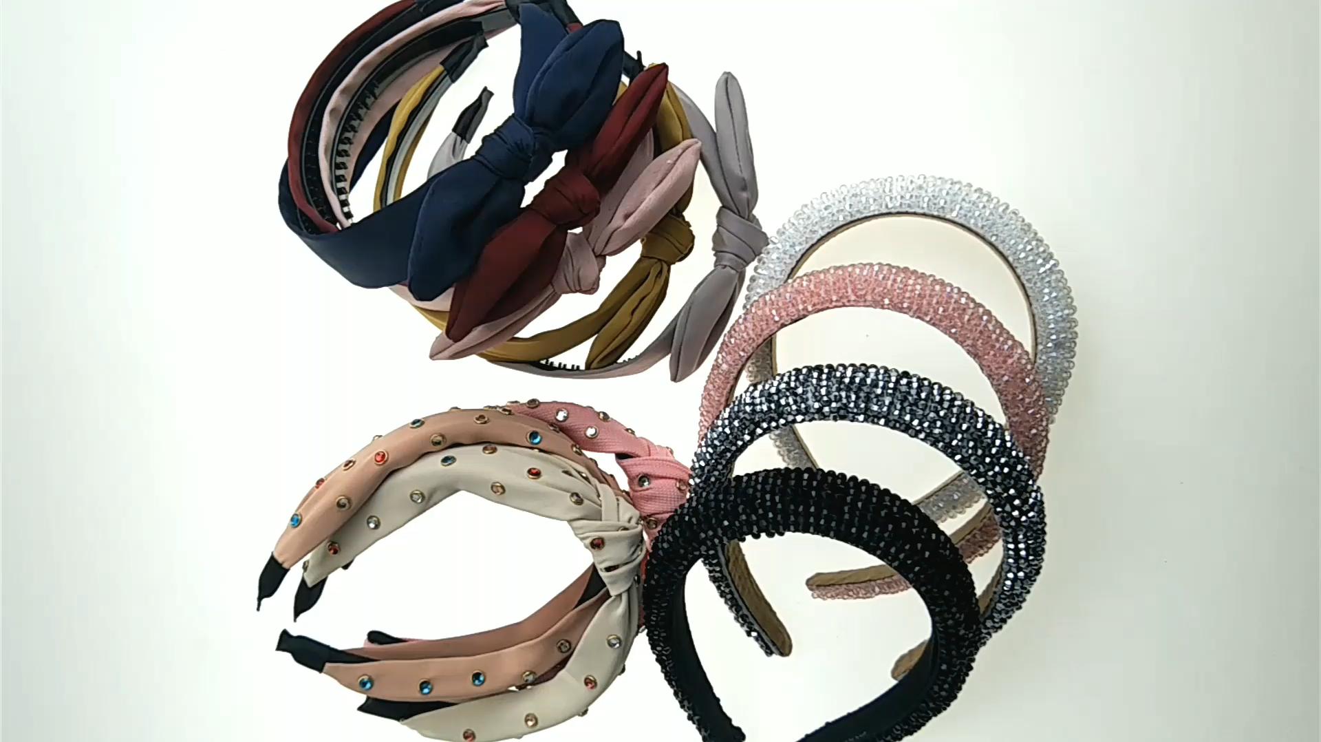 Pabrik Kustom Fashion Desainer Mewah Crystal Headband Wanita Diamond Bling Bando Berlian Imitasi 2020 Grosir
