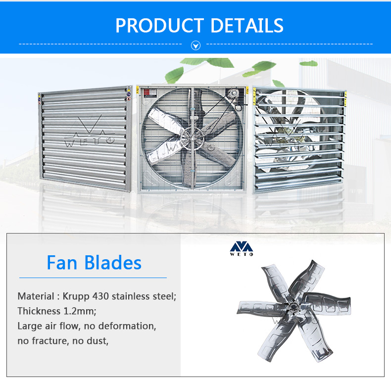 Dairy farm wall mount box type galvanized sheet ventilating fan