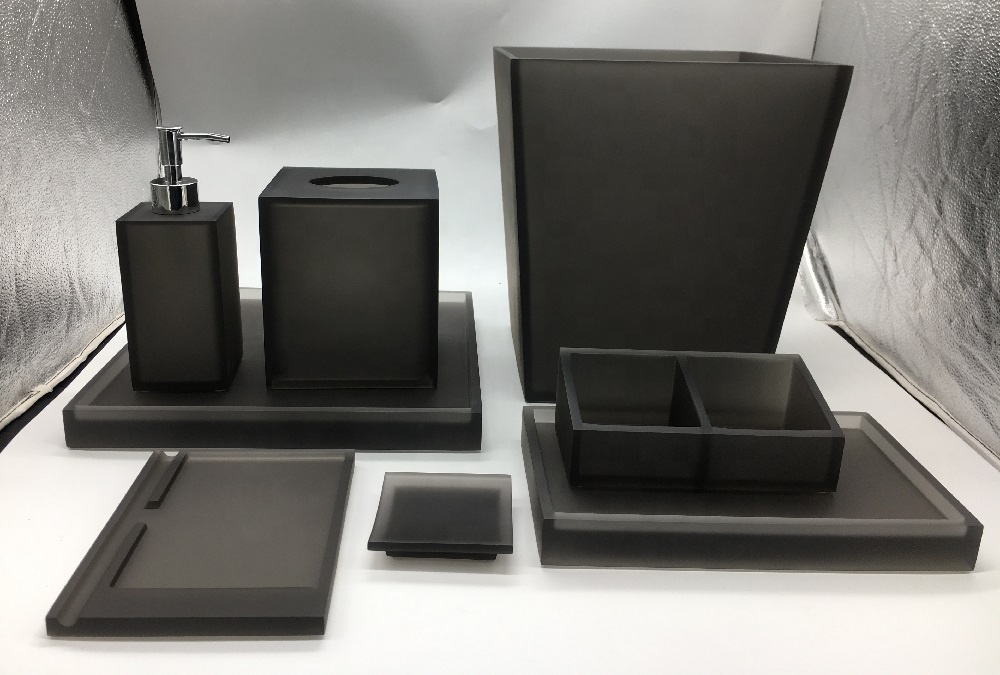 Luxury Grey Clear 100% Resin Bathroom Accessories Tissue Box