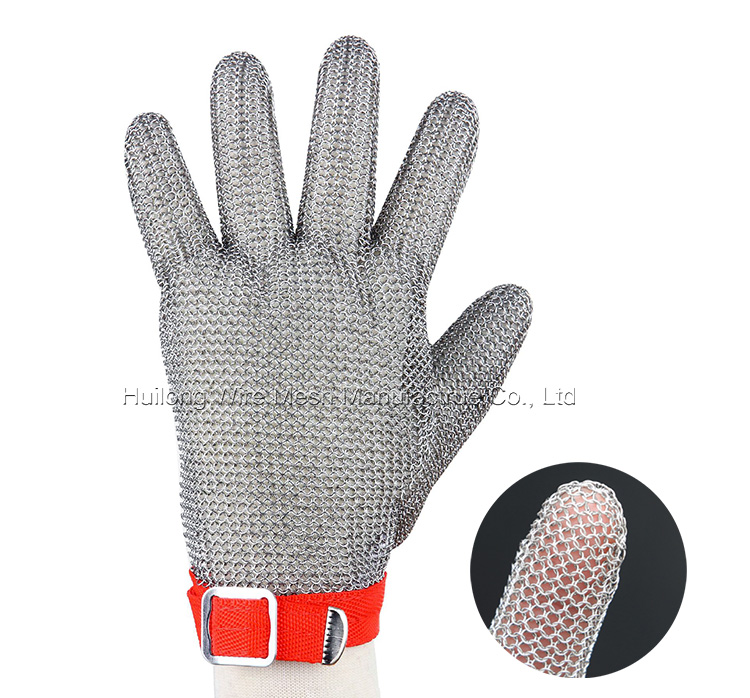 HUILONG Stainless Steel wire Mesh Hand Glove for Meat Cutting and fishing