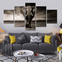 Sunset Elephant Wall Pictures White and Black Wall Art Painting on Canvas Posters and Prints Home Decor