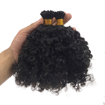 Wholesale Brazilian Curly i Tip Human Hair Extensions Afro Kinky Straight itip Raw Virgin Hair