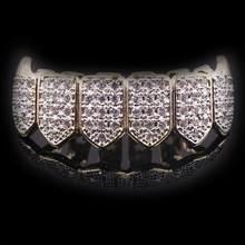 Топ снизу Золотой Серебряный цвет мужские хип-хоп grillz зубы aaa cz микро проложить латунные грили зуб для женщин Клык вампир bling ювелирные издел...(Китай)