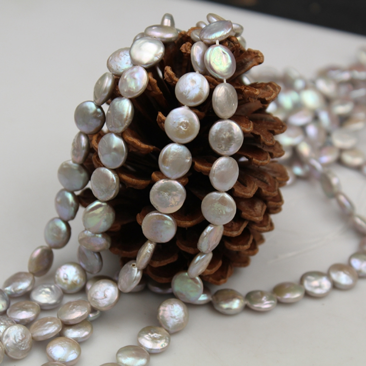 JC-1030 9-10mm grey colors Natural Cultured Loose Fresh water Coin Strands of Flat Round Button Baroque Pearl Beads
