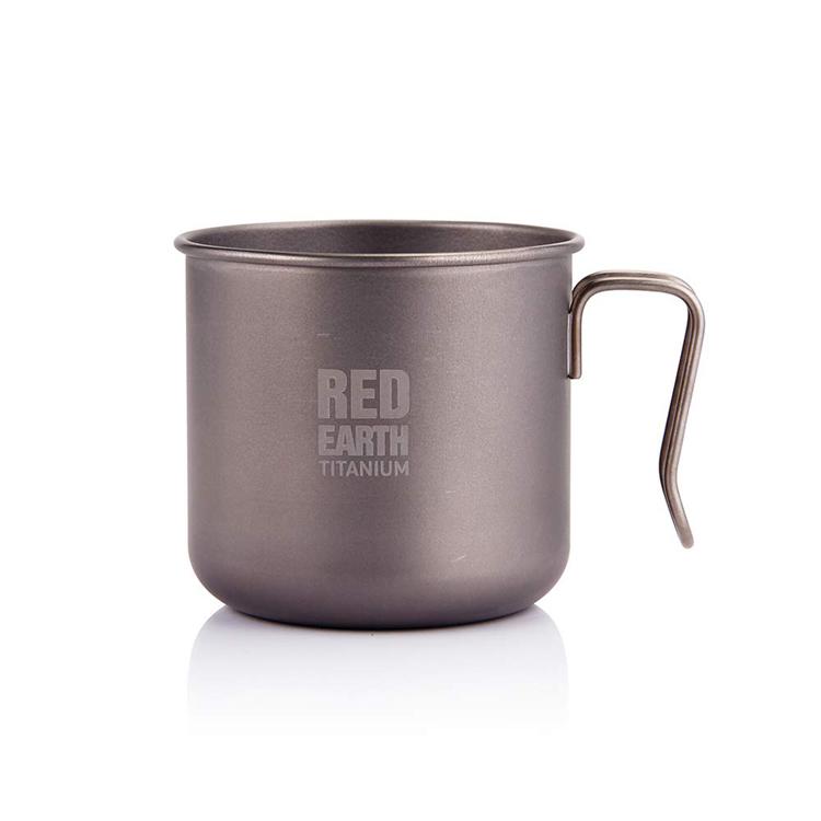 Disesuaikan Outdoor Camping Titanium Mug Single Wall Coffee Cup dengan Handle