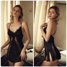 Пикантная кружевная ночная рубашка с открытой спиной, женская ночная рубашка с v-образным вырезом, шелковое атласное ночное белье, Экзотиче...(Китай)