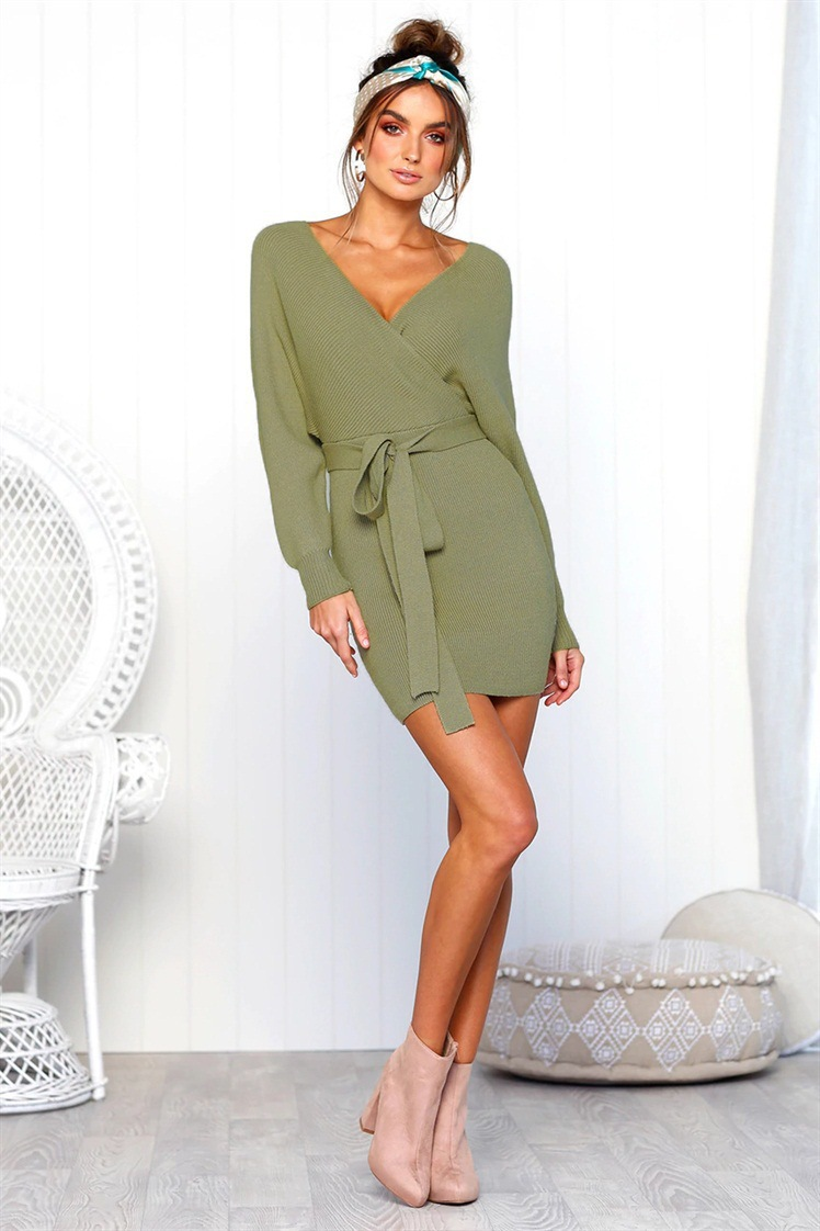 Lover-Beauty Pure Color Deep V Neck Waist Tie Mini Length Women Sexy Bodycon Sweater Dresses