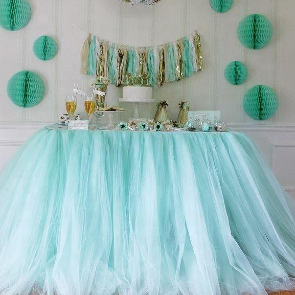 wholesale beautiful wedding party buffet table decoration skirt tutu tulle mesh table skirt