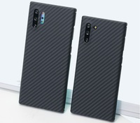 Carbon fiber Phone Case For Samsung Galaxy note 10 10+ Black/Grey Twill