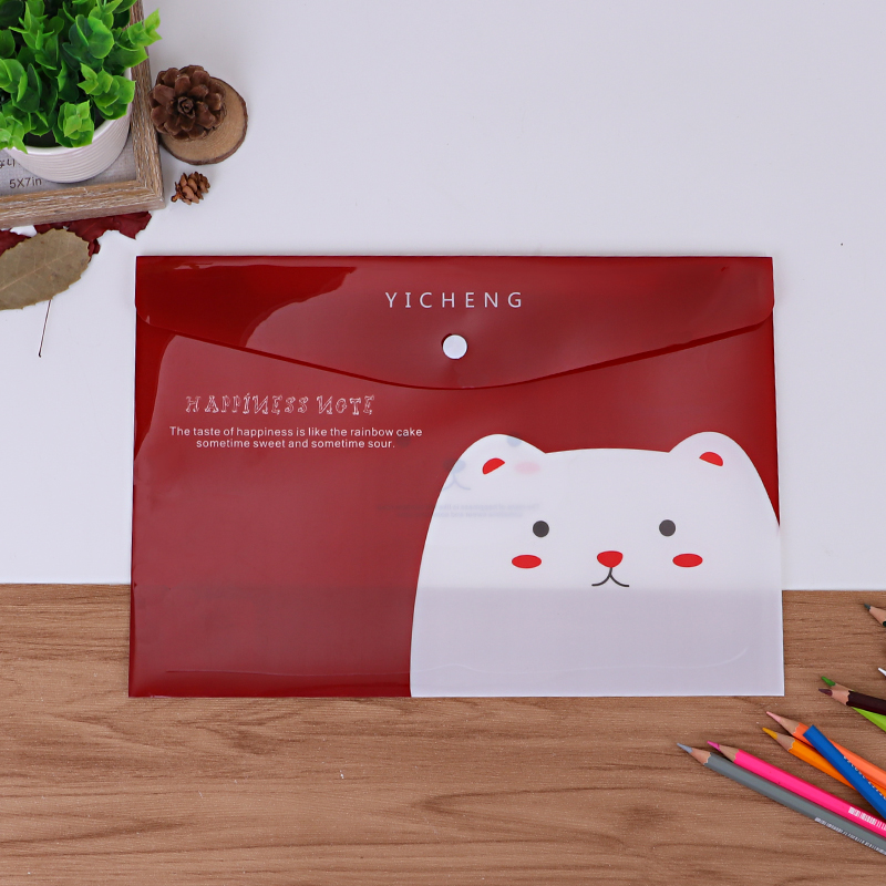 Stock Colorful Office School A4 PP File Folder Bag Envelope Snap Button Bag