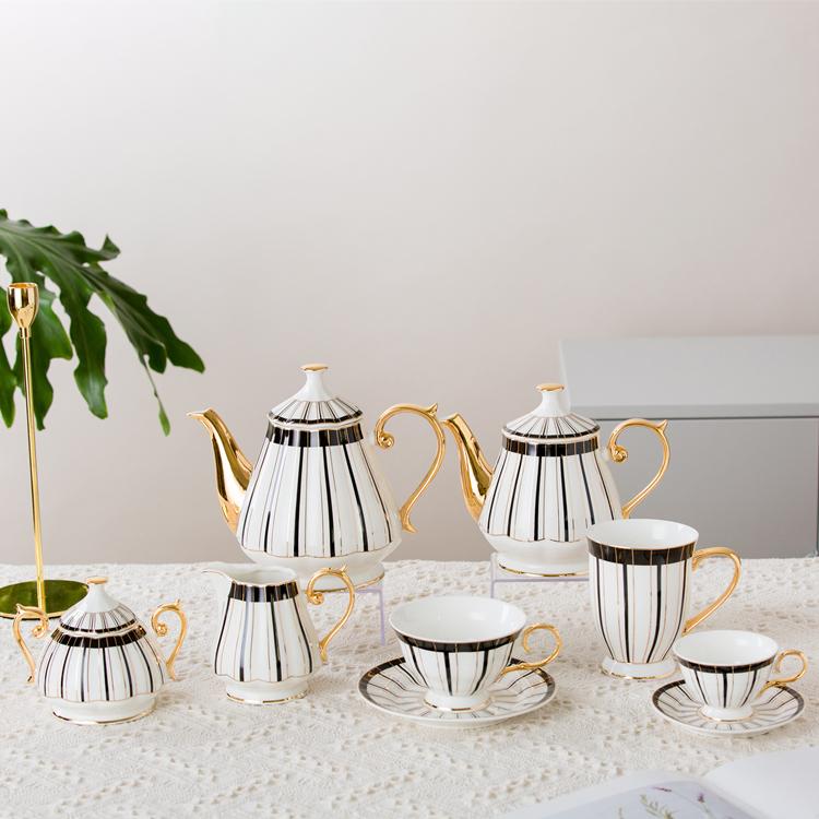 Elegant line design custom ceramic mug coffee cup saucer teapot new bone Chian tea set
