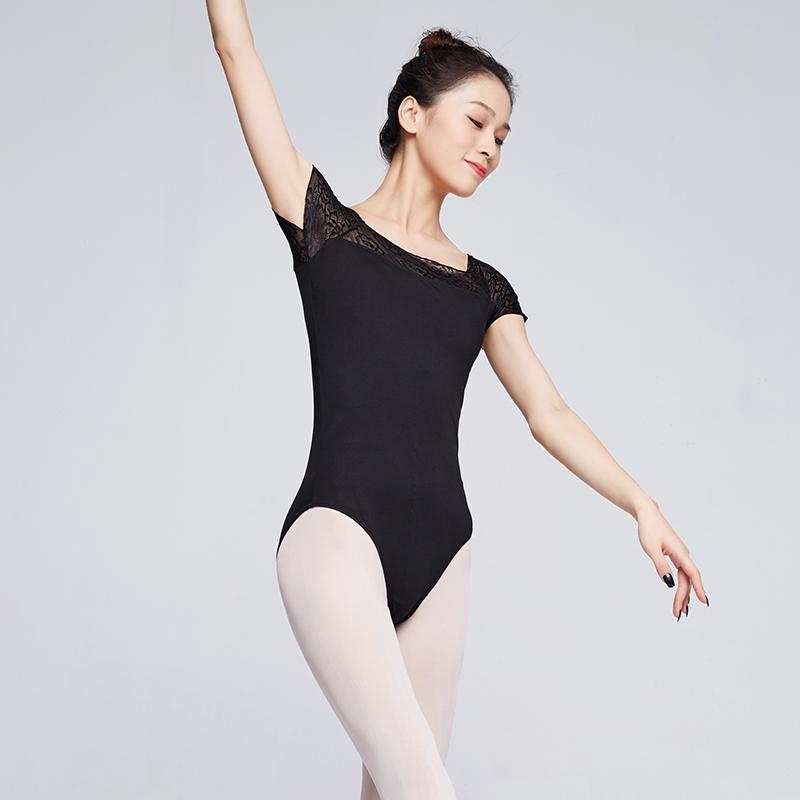 Women Ballet Dance Leotards Adult Square Collar Lace Splice Jumpsuit